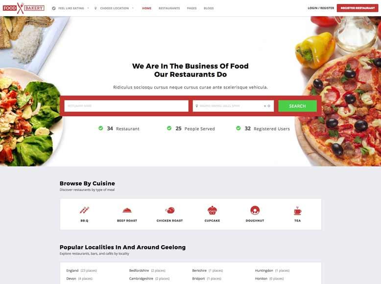 FoodBakery - Plantilla WordPress para directorios restaurantes, bares, cafeterías y pubs