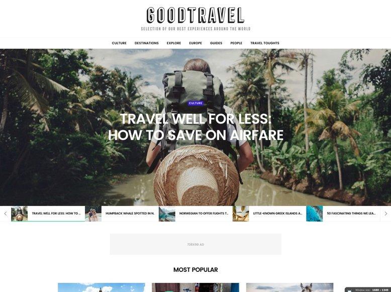 GoodLife - Tema WordPress para blogs de viajeros