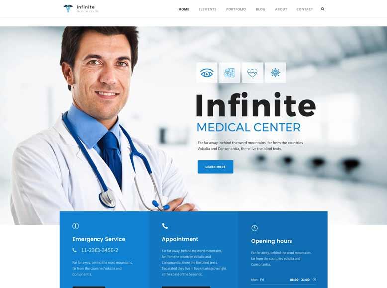 Infinite - Plantilla WordPress para modernos centros médicos, clínicas y hospitales