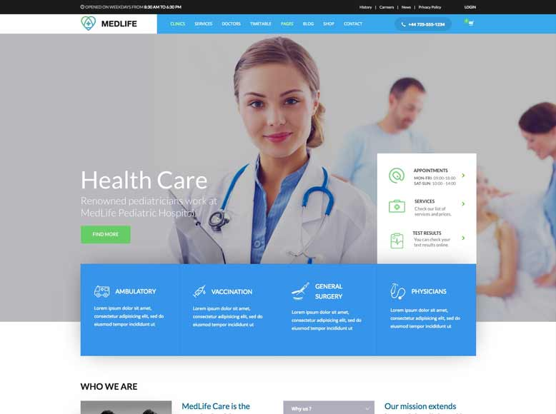 Kallyas - Tema WordPress para sitios médicos, clínicas, hospitales