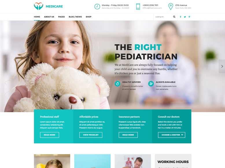 Medicare - Plantilla WordPress para médicos, clínicas y hospitales