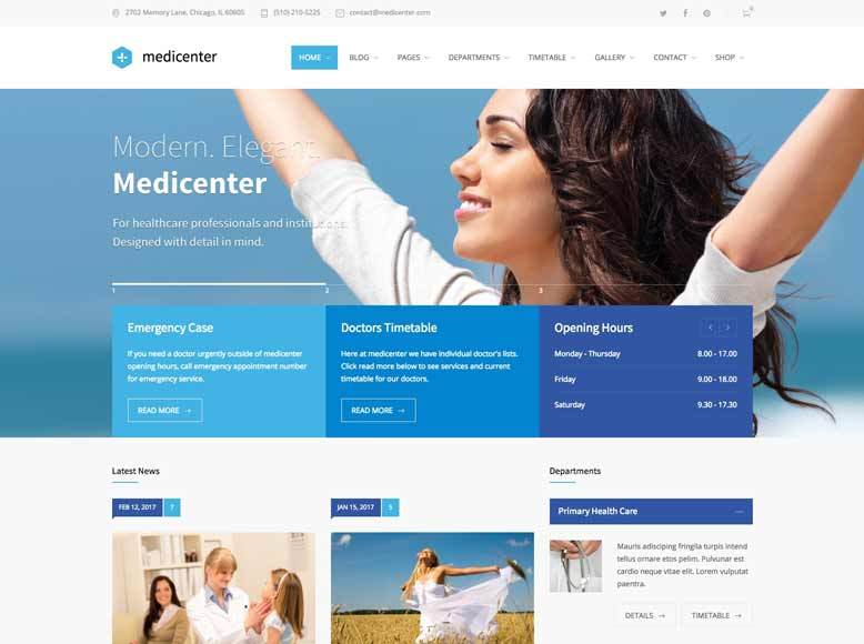 MediCenter - Plantilla WordPress para hospitales, centros médicos y clínicas sanitarias