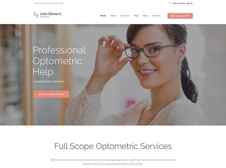 Optometry - Tema WordPress para centros ópticos y consultas de oftalmólogos