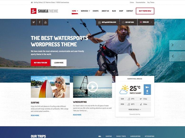 Shaka - Plantilla WordPress para deportes y actividades acuáticas en playas, surf, kayak