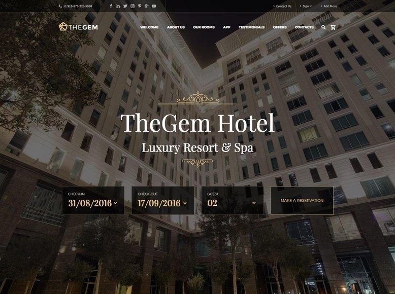 TheGem - Plantilla WordPress moderna para hoteles de lujo, con encanto, de playa