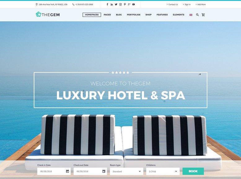 TheGem - Plantilla WordPress moderna para hoteles con encanto, de ciudad, spas