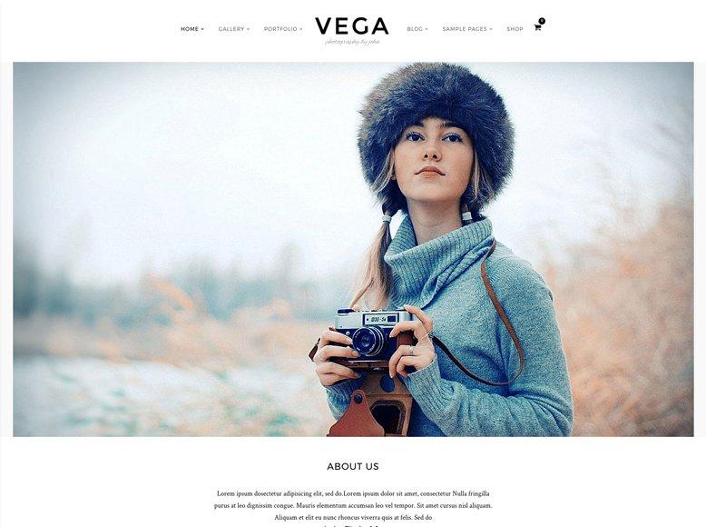 Vega - Plantilla WordPress sencilla para fotógrafos