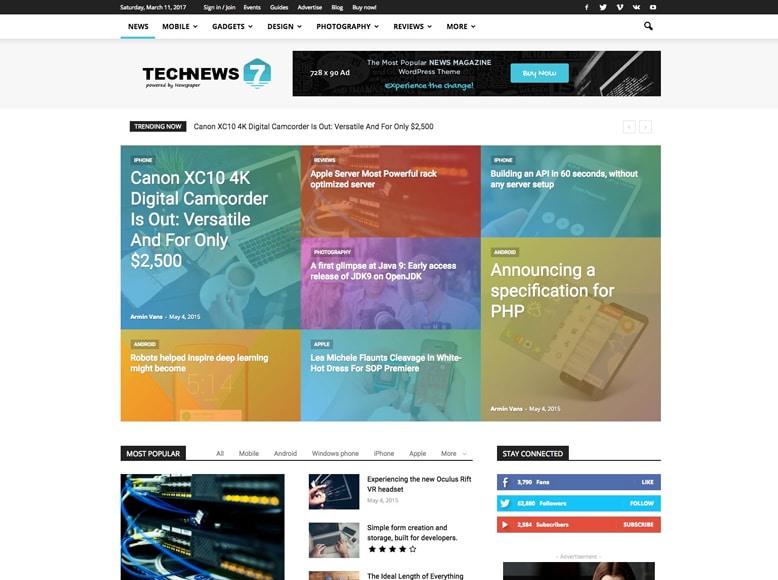 Newspaper 7 - Tema WordPress para revistas digitales de análisis y revisión
