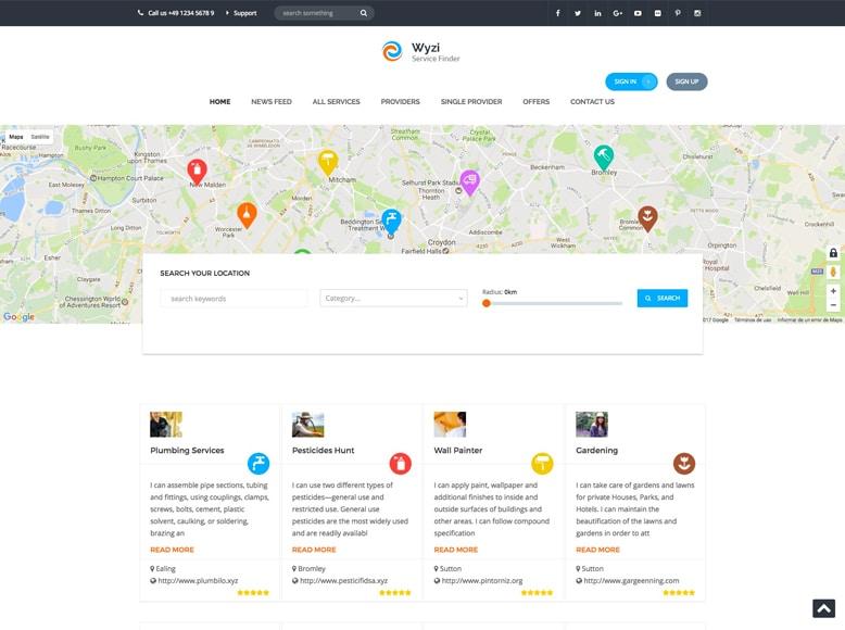WYZI - Tema WordPress para directorios y listados con valoración de empresas