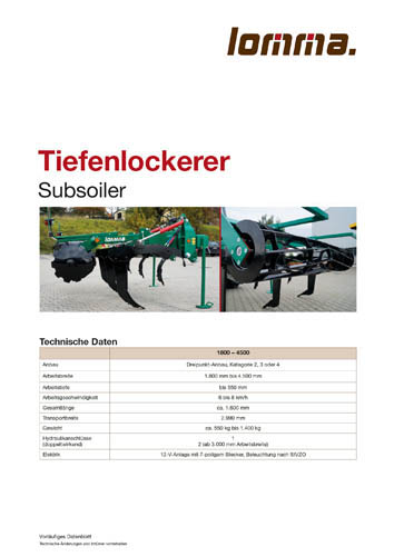 Lomma Sachsen Tiefenlockerer Technische Daten