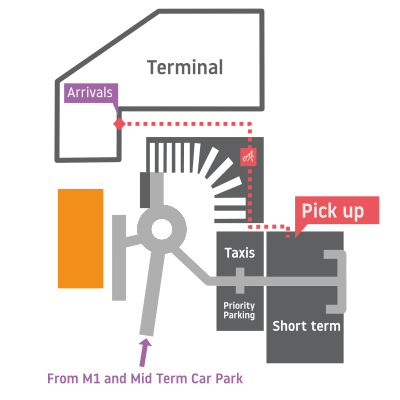 Luton airport pick up and drop off area