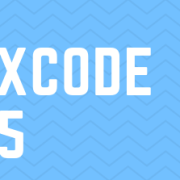 The words xcode 5 on a blue background image