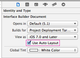 Use Auto Layout option in the Document Inspector