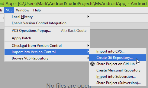 Selecting 'Create Git Repository in Android Studio'