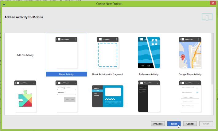 "Android Studio ""Add an activity to Mobile"" screen"