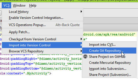 "Android Studio ""Create Git Repository"" option."