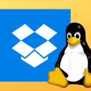 Linux penguin logo in front of the dropbox logo
