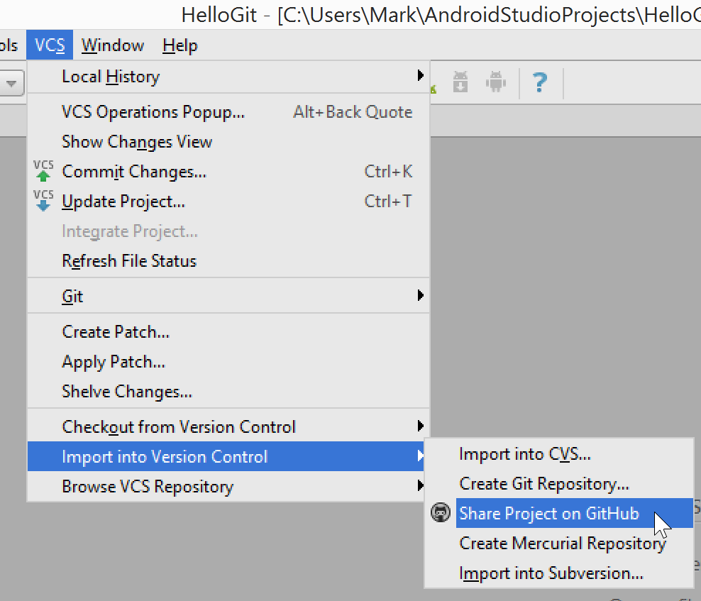 Android Studio 1.x Share Project on GitHub Screenshot