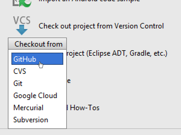 Android Studio Checkout From Options