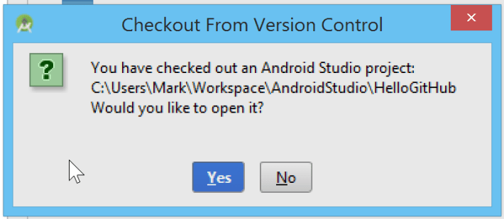 Android Studio checkout from version control