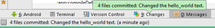 Android Studio commit success message