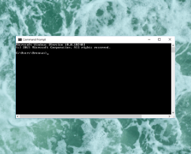 Command Prompt box from Windows on a ocean backdrop