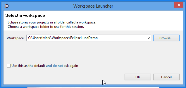 Eclipse Luna IDE  Select Workspace Screenshot