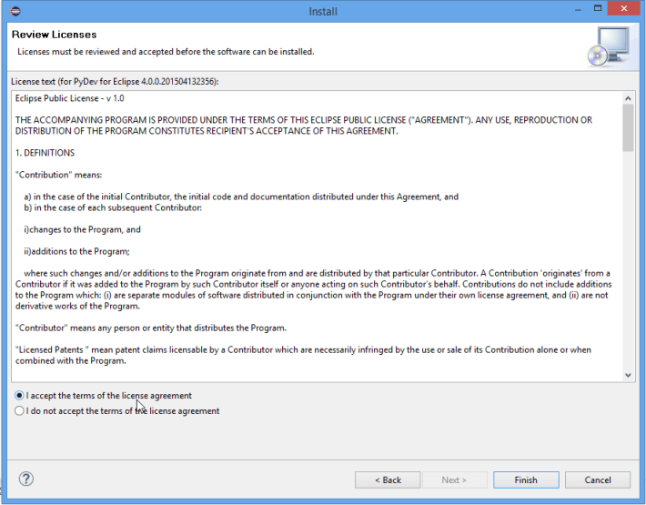 Eclipse Install PyDev Accept Terms and Conditions Screenshot