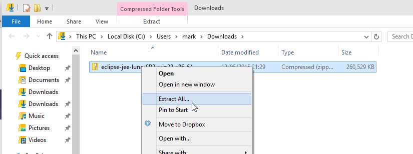 Screenshot of the downloaded eclipse files