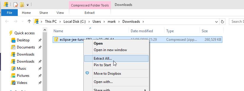 Installing Eclipse Luna on Windows 10 – London App Developer