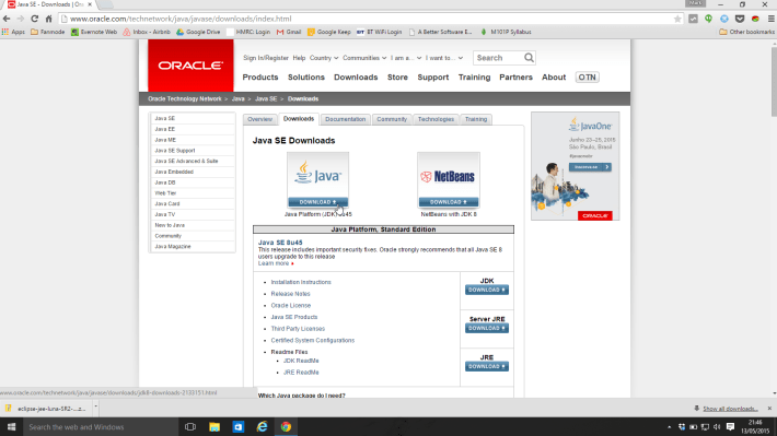 JDK Website screenshot