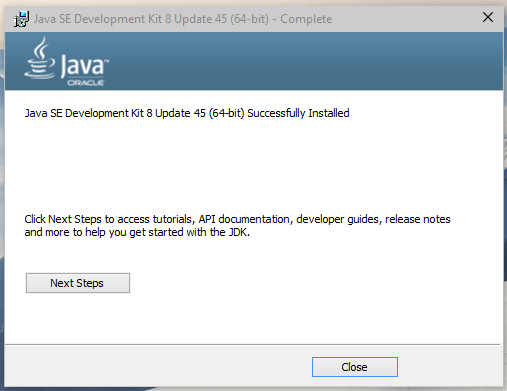 Oracle Java Installation Complete Screenshot