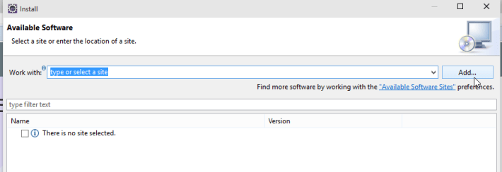Eclipse Add Repository Screenshot