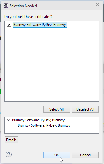 Eclipse Accept Certificate PyDev Screenshot