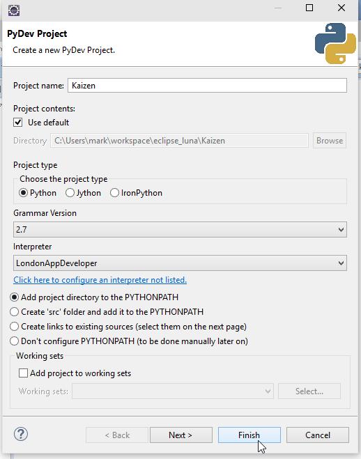 Eclipse Windows 10 New PyDev Project Screenshot