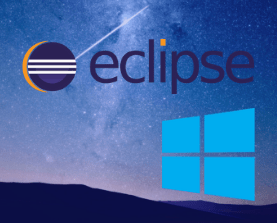 Eclipse and Windows software logos on a night sky