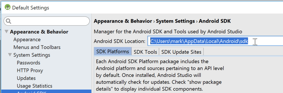 Android Studio SDK Settings