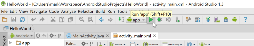 Windows 10 Android Studio run app