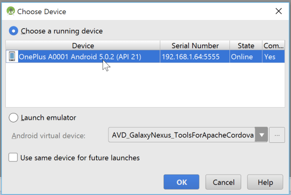 Windows 10 Android Studio choose Device