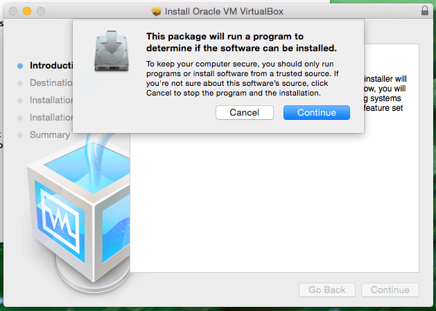 Package will run a program to determine the software can be installed VirtualBox OS X