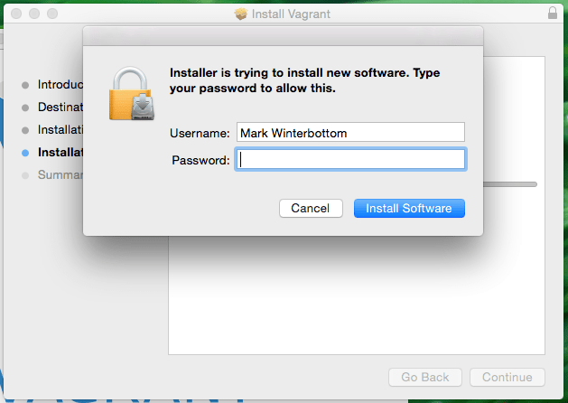 Installer is going to install new software password prompt screenshot
