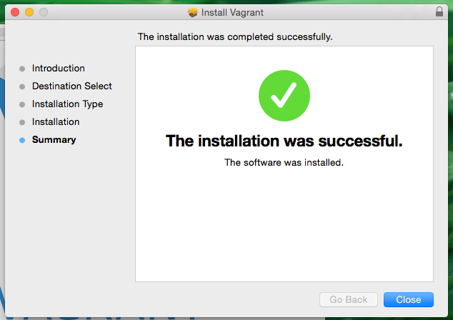 Installation was successful Mac OS X Vagrant Screenshot