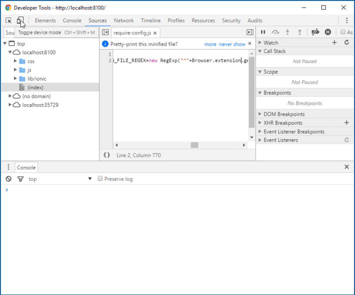 Google Chrome Developer Tools Device Toggle Mode