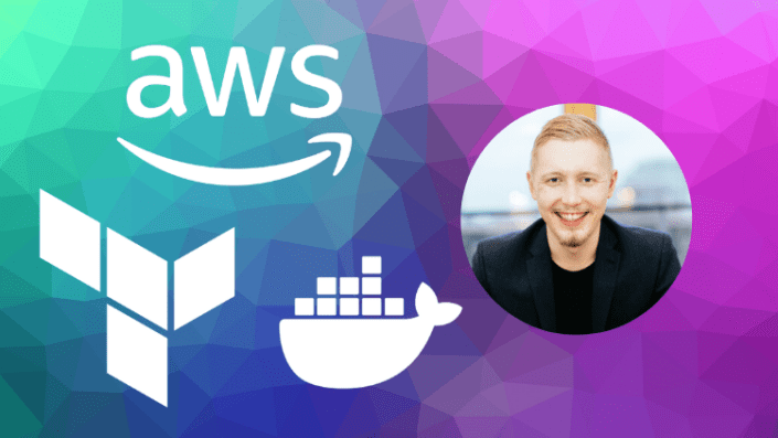 Thumbnail with instructor photo and logos for AWS, Terraform and Docker.