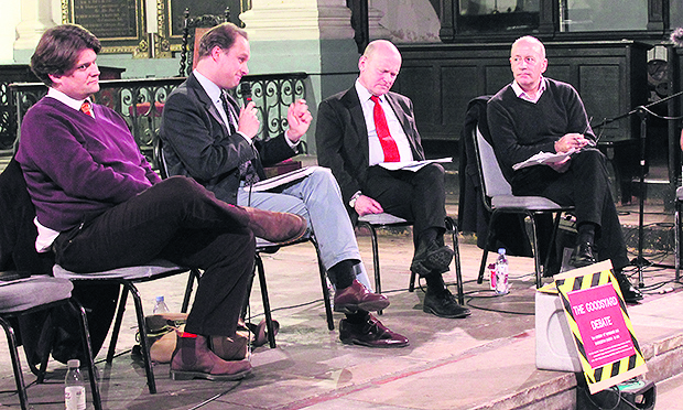 Building a case: Tower Hamlets Mayor John Biggs (centre, right) on the panel discussing the viability of the proposals