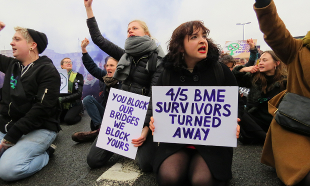 Sisters Uncut: Protesting cuts in domestic violence services. Photograph: Rachel Parris