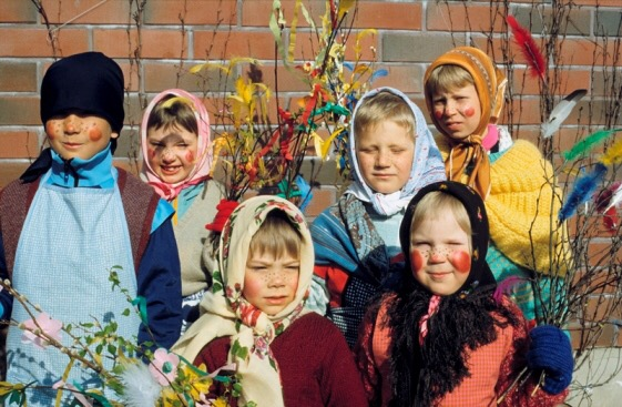 Little girls in Finland dressed up for Easter