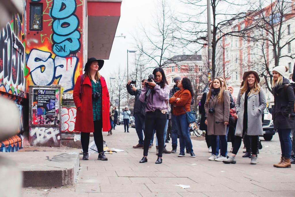 People on street art tour in Hamburg Germany