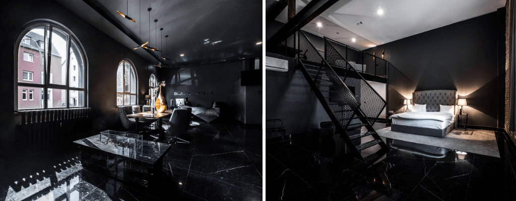 Chic all black hotel in Cologne