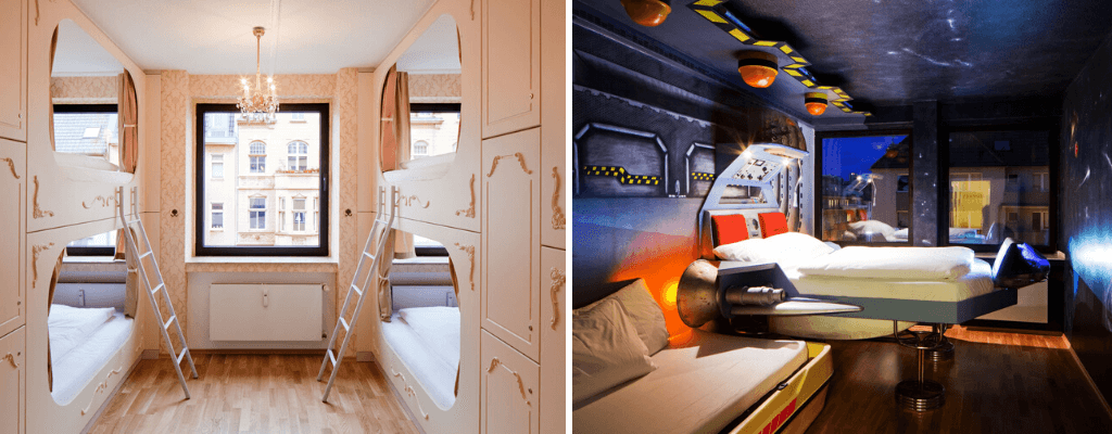 Ballet and space themed rooms in Hostel die Wohngemeinschaft Cologne